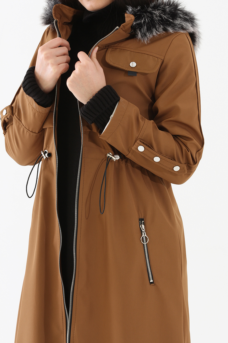 Fur Detailed Hooded Coat