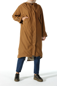 FURRY LINED HOODED COAT