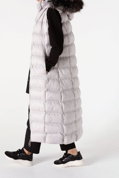 HOODED DOWN VEST WITH FUR