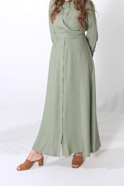 Kuşak Detaylı Düğmeli Elbise