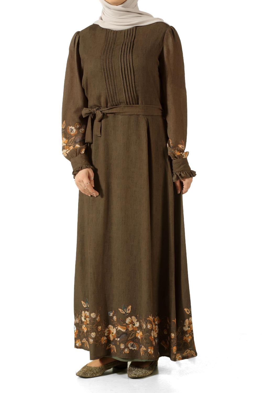 Kuşaklı Astarlı Nakışlı Elbise