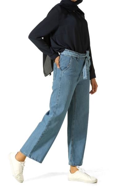 Kuşaklı Bol Paça Kot Pantolon