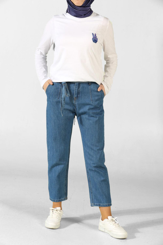 Mavi Kuşaklı Boyfriend Kot Pantolon 214 2544 Allday