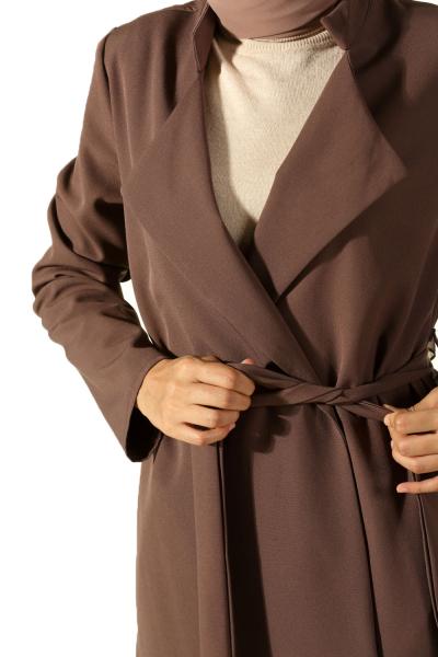 Kuşaklı Cepli Ceket