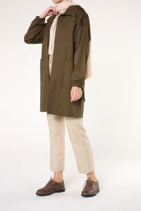 BELTED NATURAL FABRIC TRENCH COAT