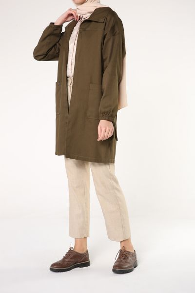 BELTED POCKET NATURAL FABRIC TRENCH COAT