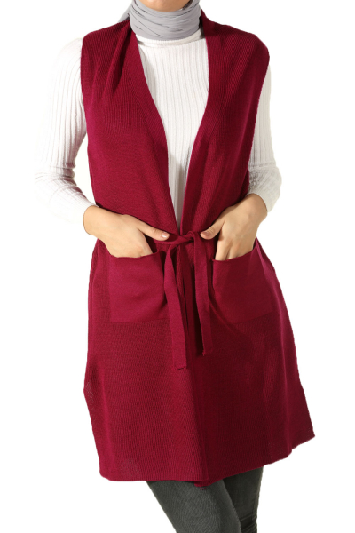 BELTED KNITWEAR VEST WITH POCKET