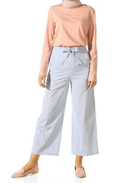 Kuşaklı Çizgili Pantolon