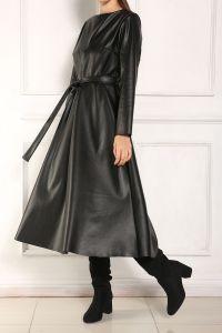 Kuşaklı Kloş Deri Elbise