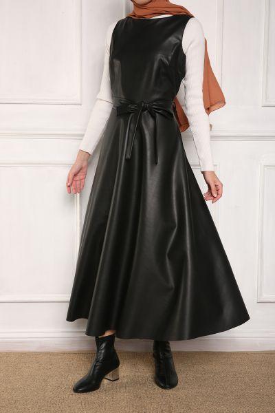 Kuşaklı Kloş Deri Jile Elbise