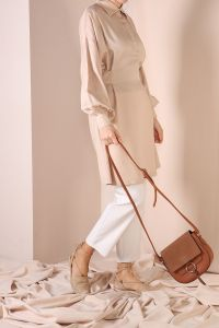 BELTED NATURAL FABRIC TUNIC