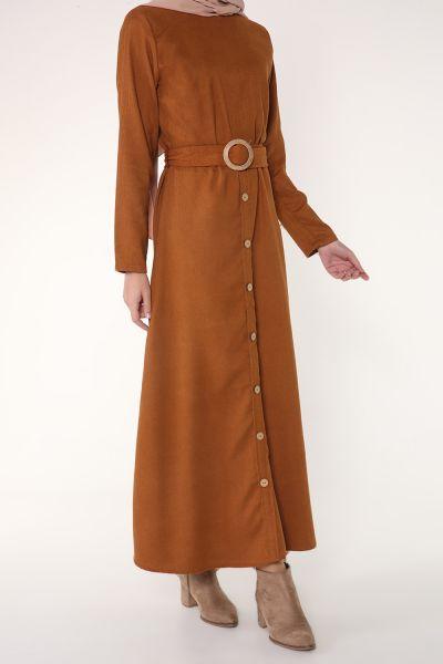 Kuşaklı Düğmeli Elbise