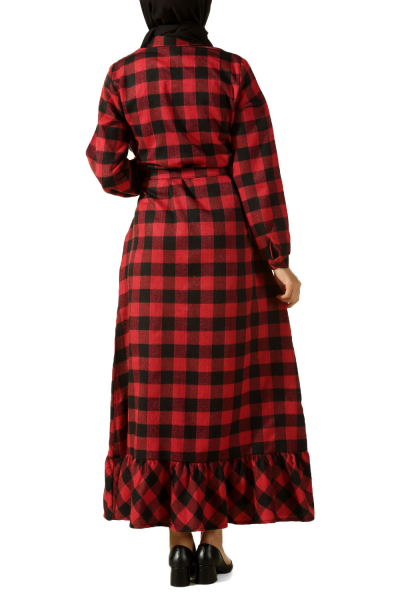 Kuşaklı Ekoseli Elbise