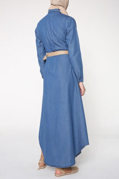 Kuşaklı Yanları Düğmeli Elbise