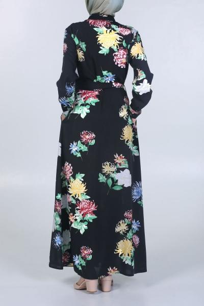 Çiçekli Kuşaklı Elbise