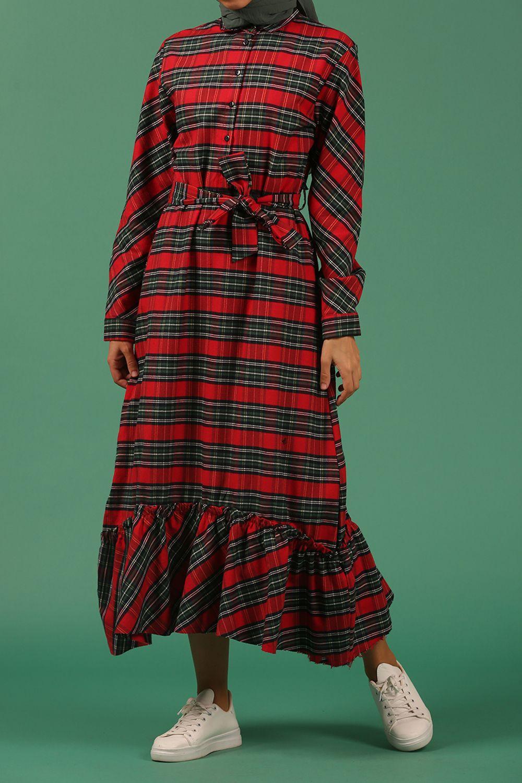 Yarım Patlı Kuşaklı Eteği Fırfır Elbise