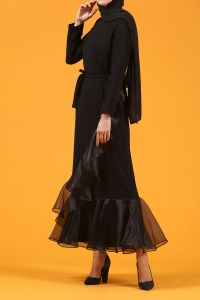 Kuşaklı Eteği Tül Elbise