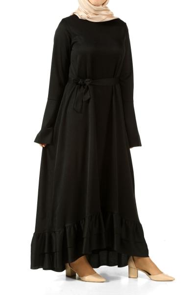 Kuşaklı Fırfırlı Elbise