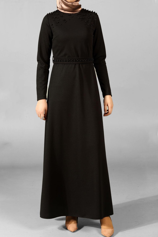 Büyük Beden Kuşaklı İncili Elbise