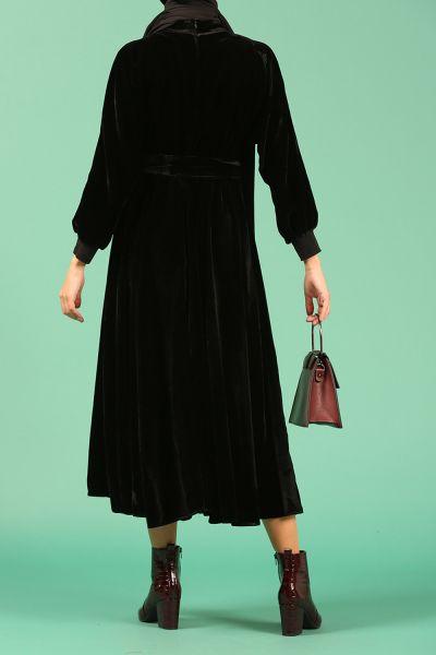 Kuşaklı Kadife Elbise