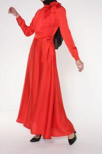 Kuşaklı Astarlı Kloş Elbise