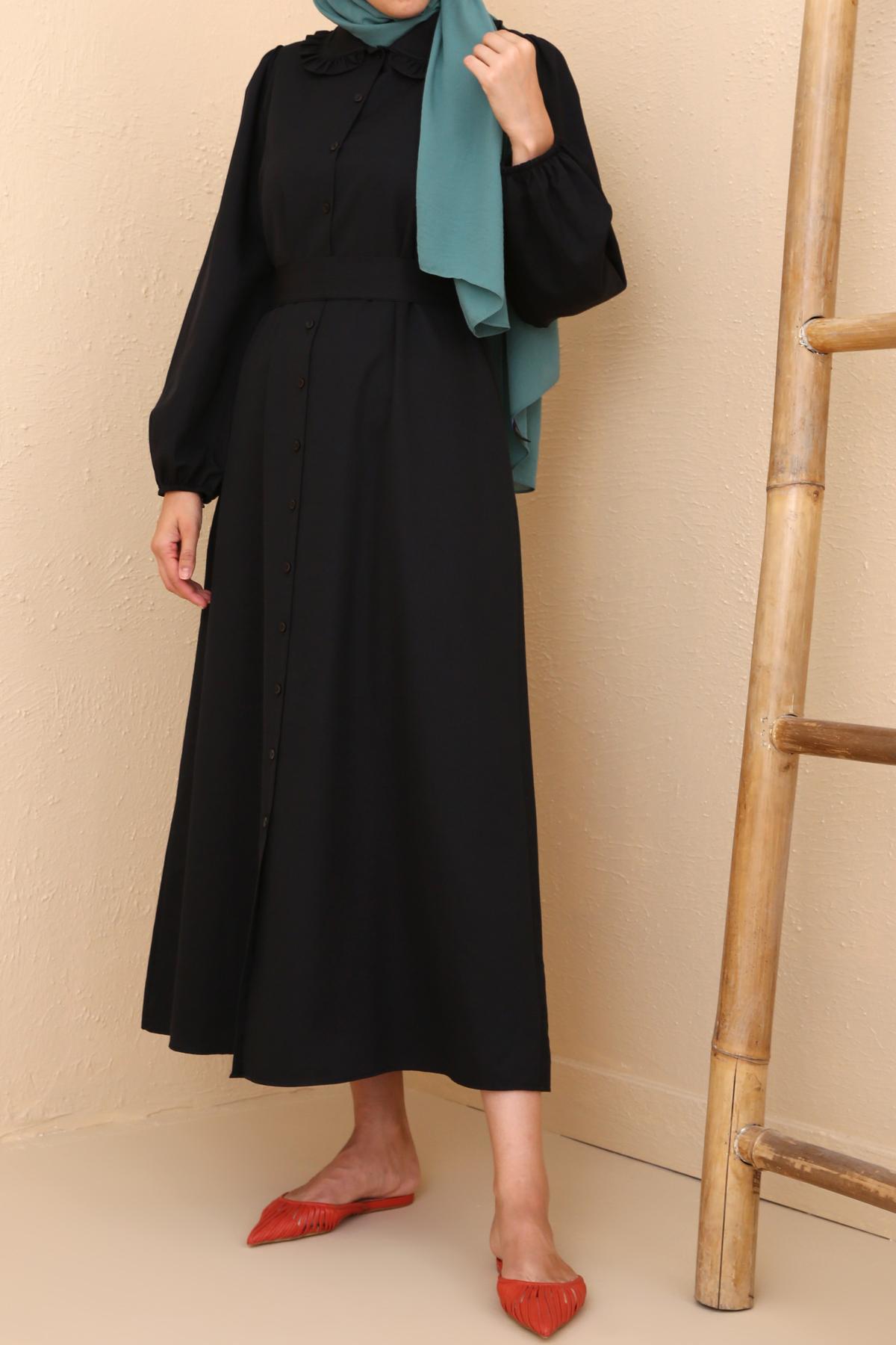 Self Belted Cotton Shirt Dress