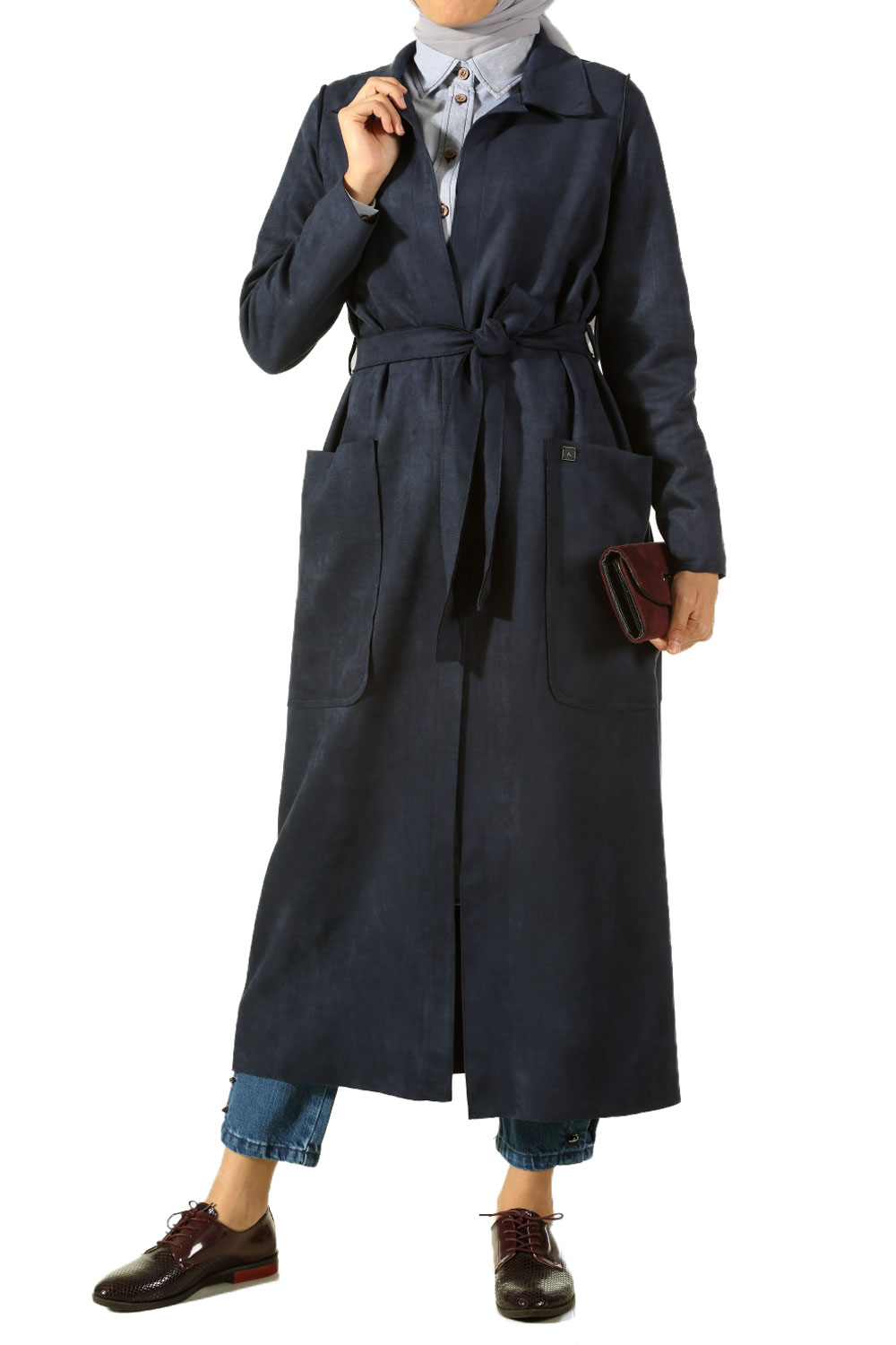 369fb181f2 Navy Blue BELTED SUEDE TRENCH COAT - 70157   Allday