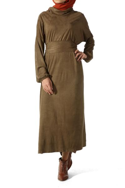 BELTED SUEDE DRESS