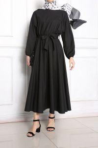 Kuşaklı Beli Lastikli Yarasa Kol Elbise
