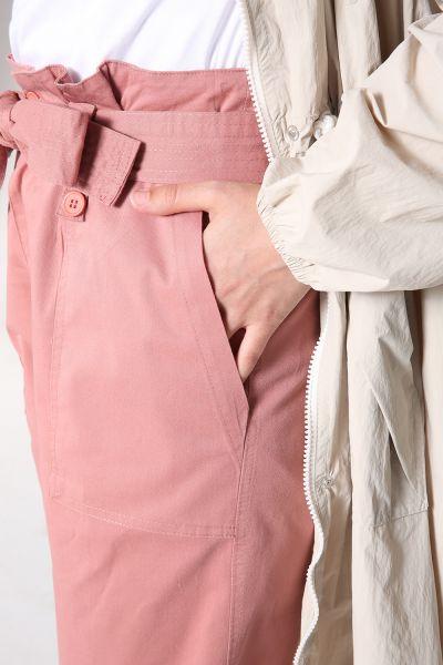 Kuşaklı Cepli Yüksek Bel Pantolon