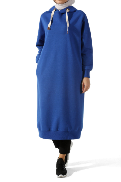 HOODED COMBED TUNIC WITH EYELET