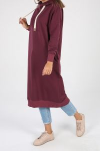 Hooded Pocket Sweatshirt Tunic