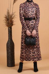 Leopar Desenli Kemerli Elbise