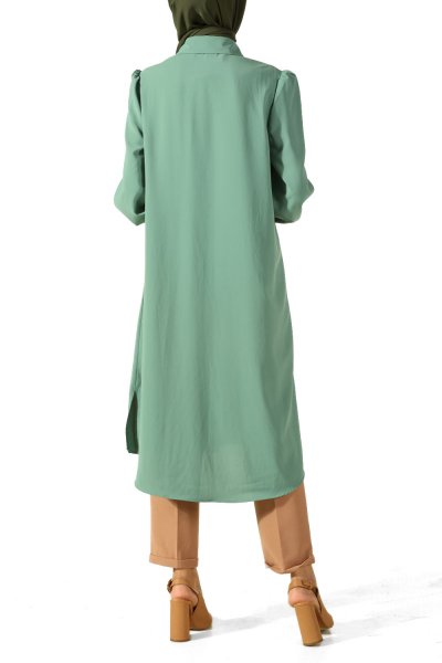 HIDDEN BUTTON TUNIC WITH BEADED CUFF