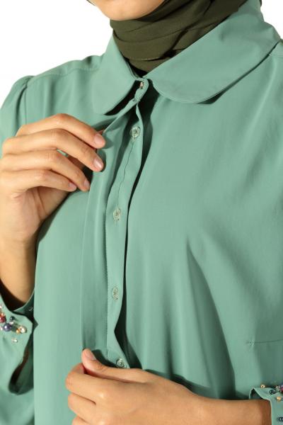 Manşeti Boncuklu Gizli Patlı Gömlek Tunik