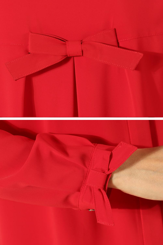 Red Bow Tie Cuff Tunic 51628 Allday Tunik Ribbon
