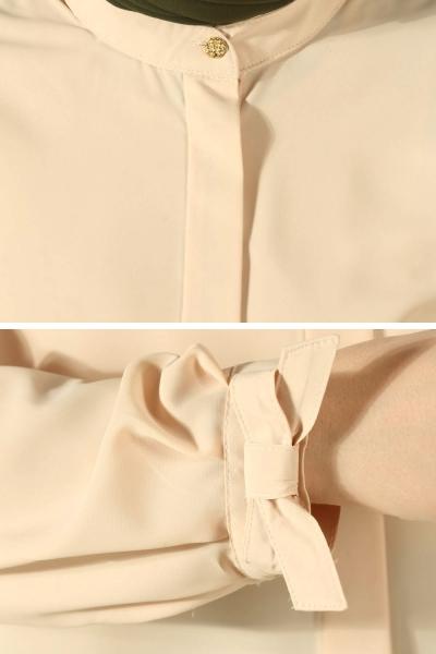 Manşeti Sırtı Fiyonklu Kloş Gömlek Tunik
