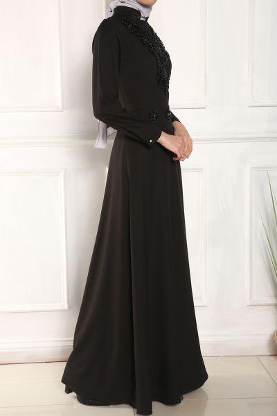 Micorazon Boncuk İşleme Dantelli Kloş Elbise