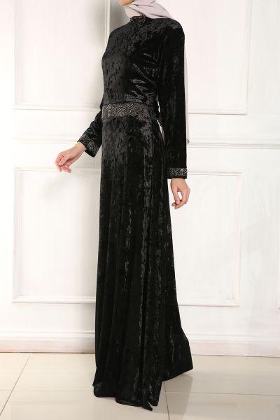 Micorazon Kadife Taşlı Kloş Elbise