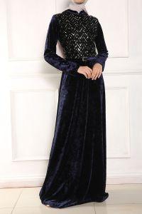 Micorazon Kemerli Kadife Pullu Elbise