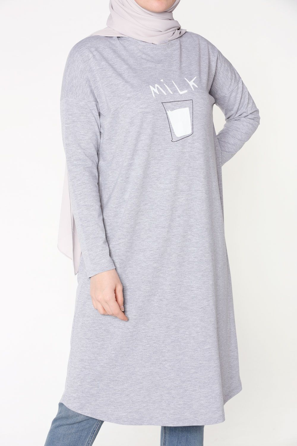 MILK PRINTED COMBED COTTON TUNIC