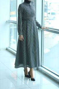 Modgrey Çizgili Bağlamalı Elbise