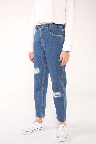 Mom Doğal Kumaş Cepli Yamalı Denim Pantolon