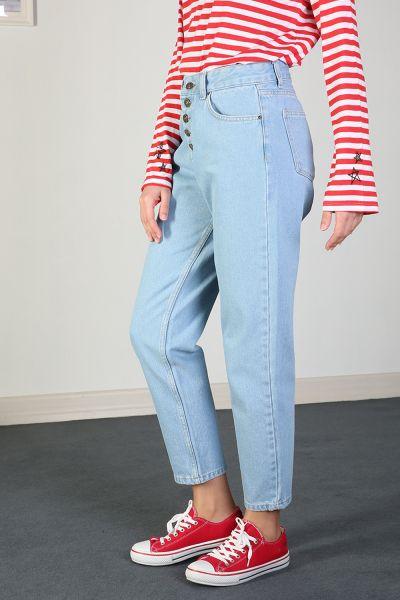 Mom Düğme Detaylı Pantolon