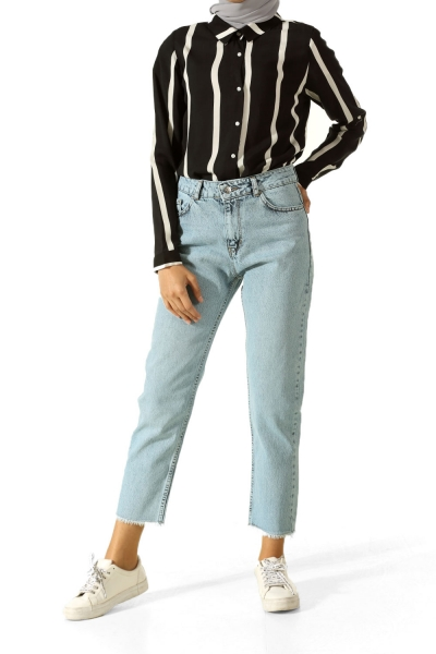 Mom Jeans Kot Pantolon