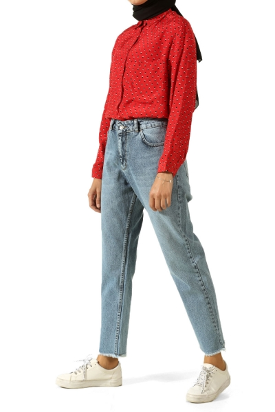 Mom Jeans Kot Pantolon