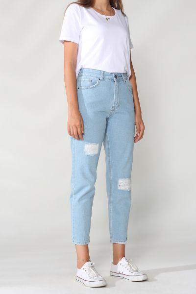 Mom Cepli Yamalı Denim Pantolon