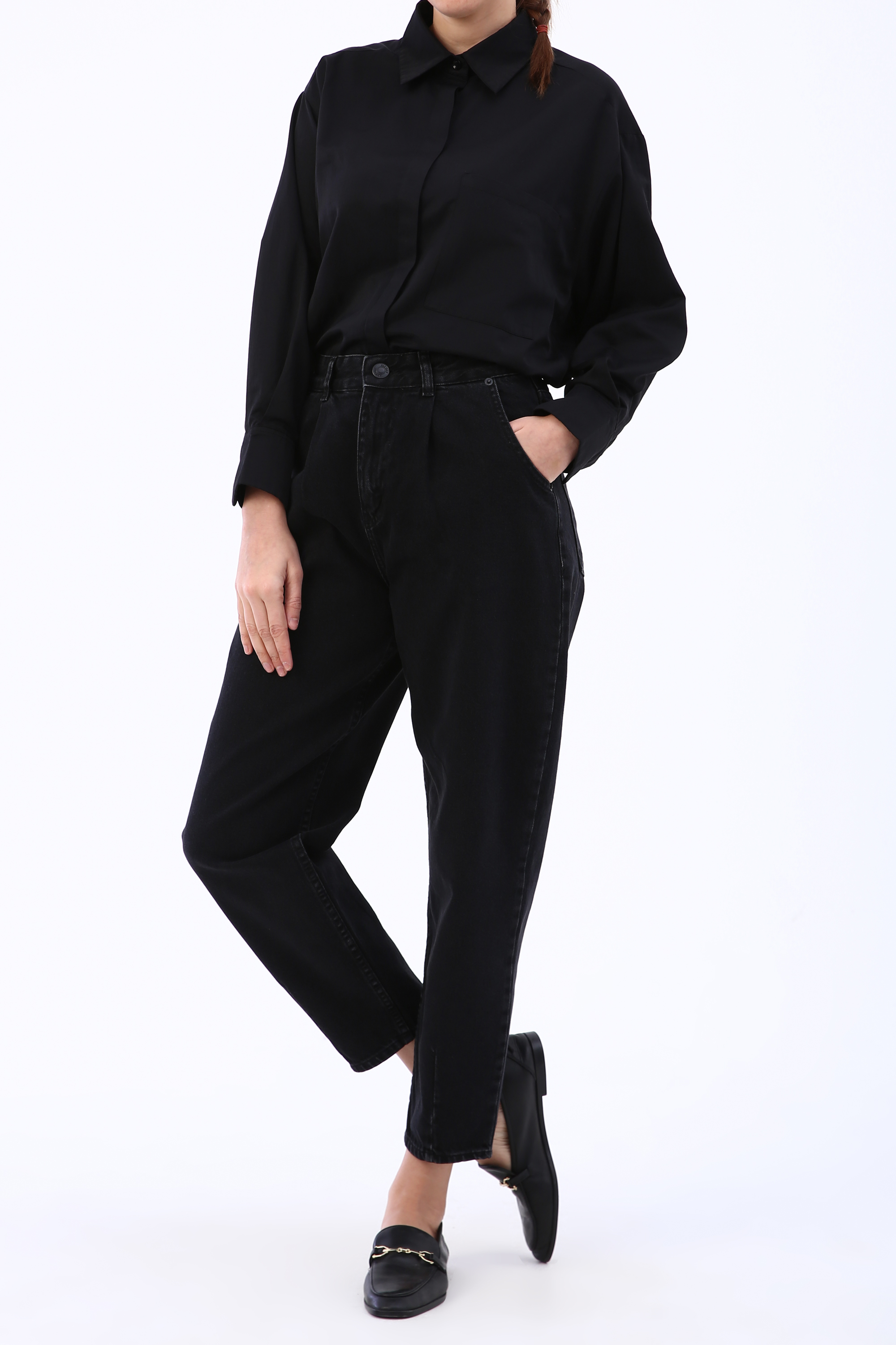 Ankle Detailed Mom Jeans
