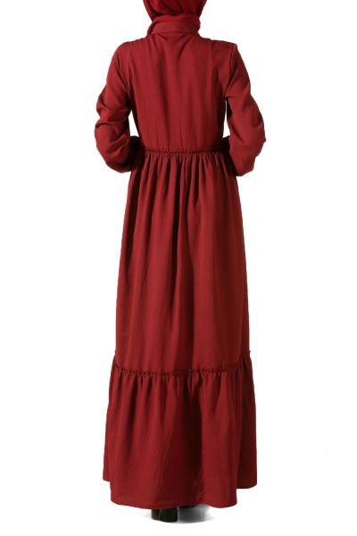 Nakışlı Büzgülü Elbise