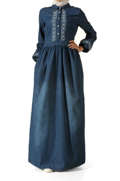 Nakışlı Büzgülü Kot Elbise